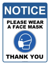Sign asking pharmacy patrons to wear a mask