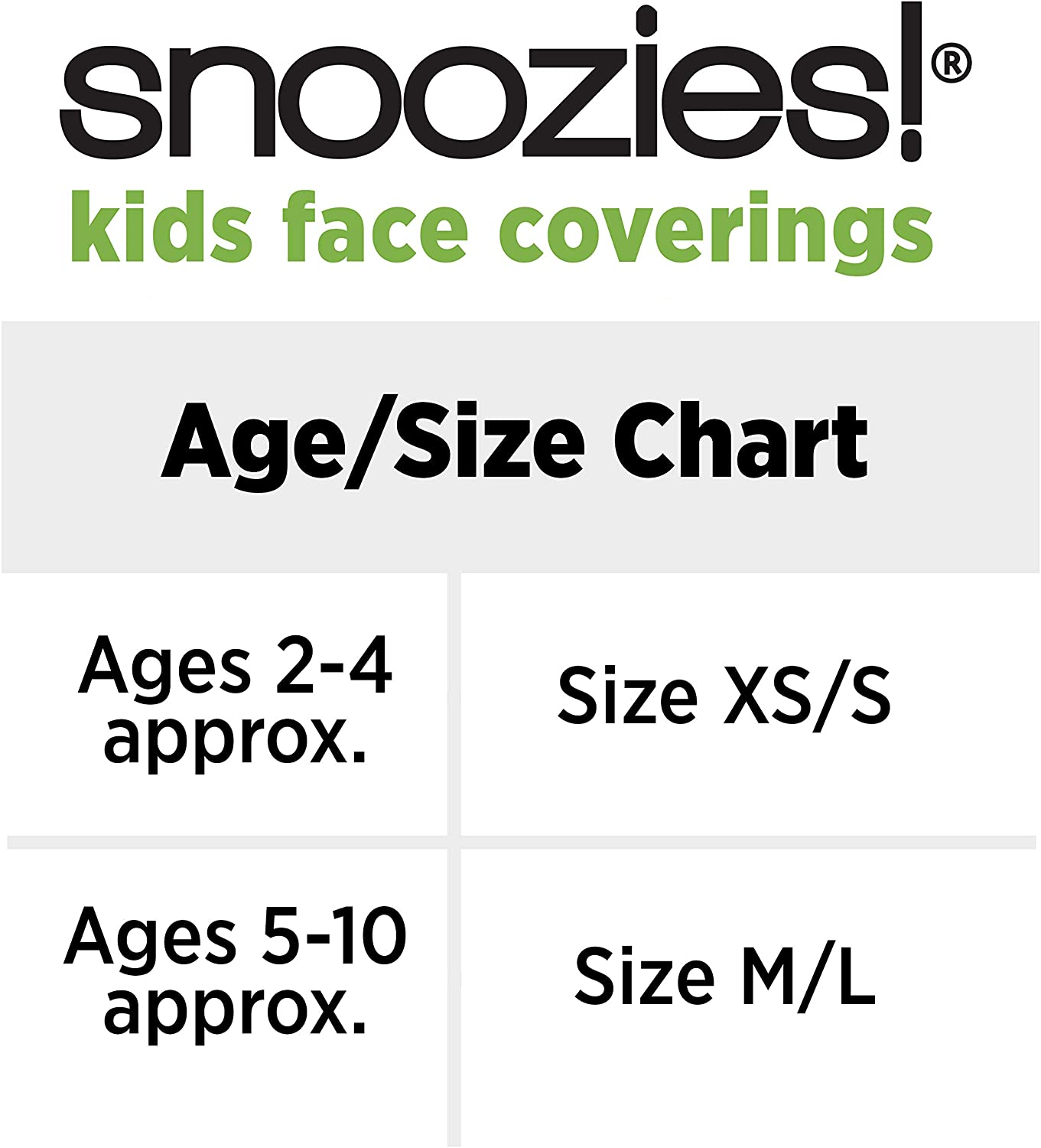 Snoozies Kids Face Coverings Size Chart